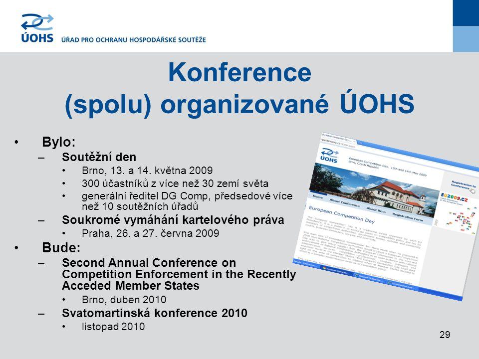 29 Konference (spolu) organizované ÚOHS Bylo: –Soutěžní den Brno, 13.