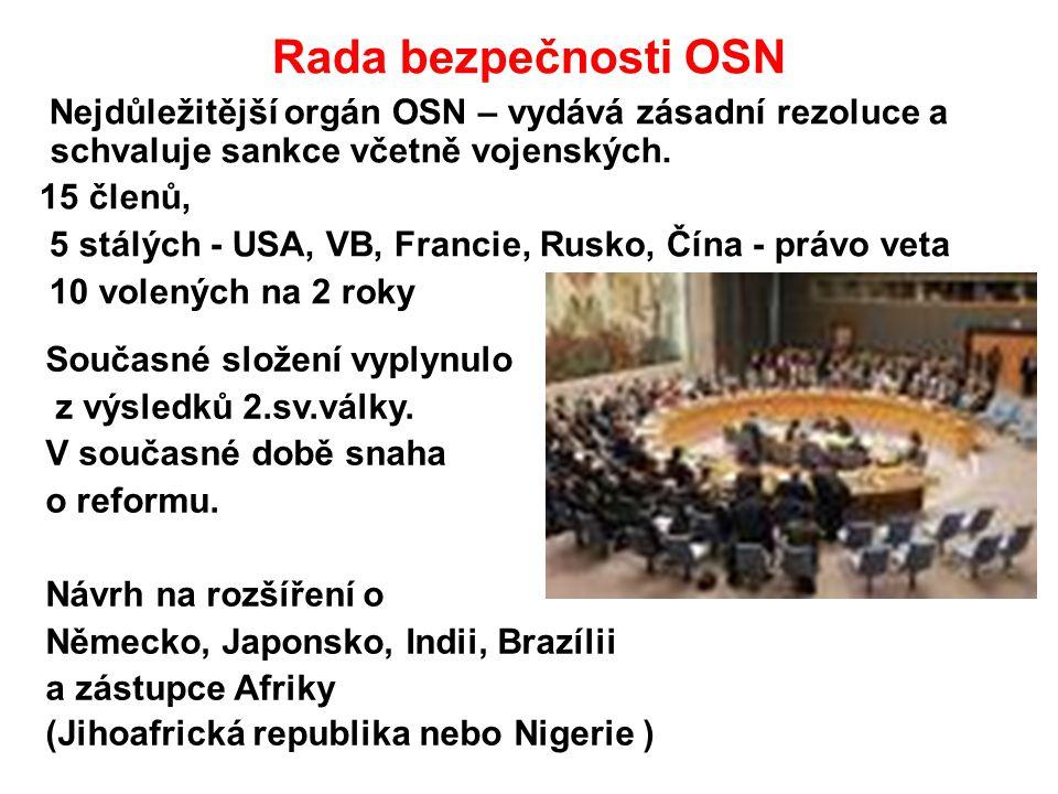 Rada bezpečnosti OSN Nejdůležitější orgán OSN – vydává zásadní rezoluce a schvaluje sankce včetně vojenských. 15 členů, 5 stálých - USA, VB, Francie,