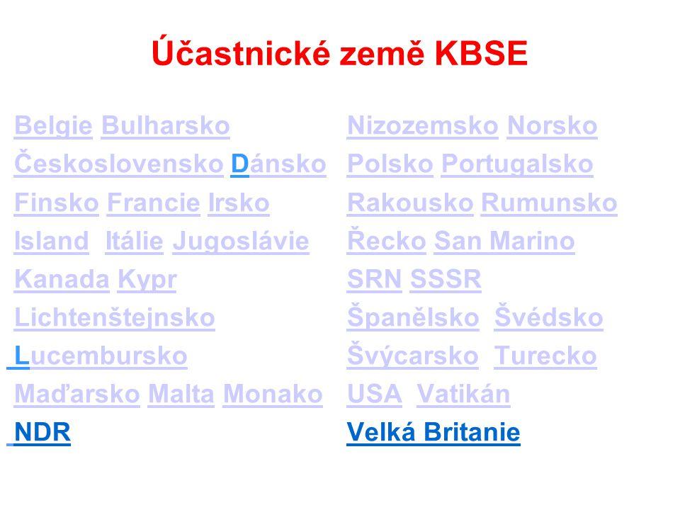 Účastnické země KBSE Belgie BulharskoBelgieBulharsko Československo DánskoČeskoslovenskoánsko Finsko Francie IrskoFinskoFrancieIrsko Island Itálie Jug