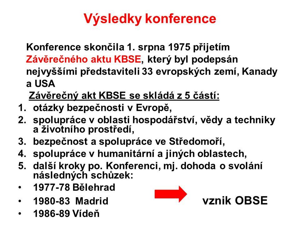 Výsledky konference Konference skončila 1. srpna 1975 přijetím Závěrečného aktu KBSE, který byl podepsán nejvyššími představiteli 33 evropských zemí,