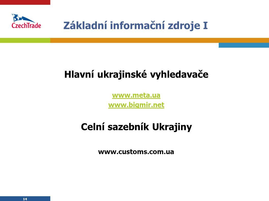 14 Základní informační zdroje I Hlavní ukrajinské vyhledavače www.meta.ua www.bigmir.net Celní sazebník Ukrajiny www.customs.com.ua