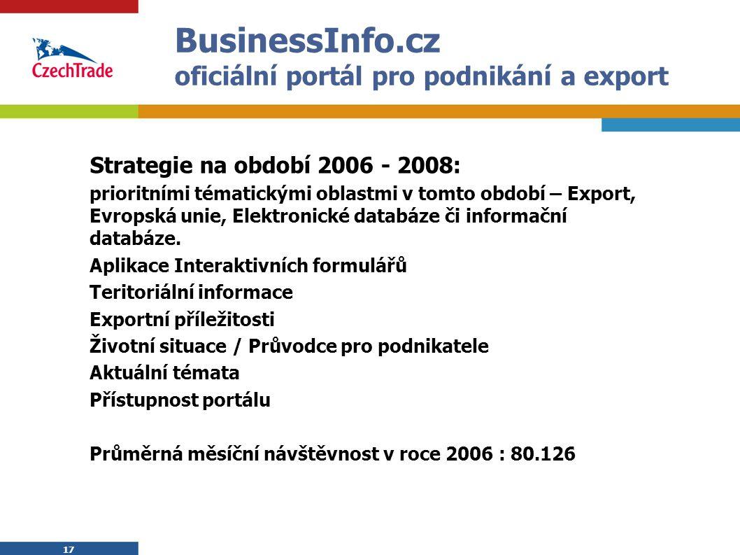17 BusinessInfo.cz oficiální portál pro podnikání a export Strategie na období 2006 - 2008: prioritními tématickými oblastmi v tomto období – Export,