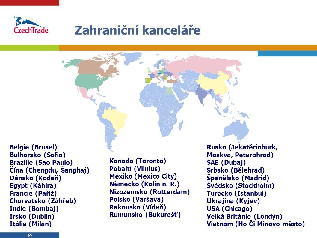 19 Zahraniční kanceláře Belgie (Brusel) Bulharsko (Sofia) Brazílie (Sao Paulo) Čína (Chengdu, Šanghaj) Dánsko (Kodaň) Egypt (Káhira) Francie (Paříž) C