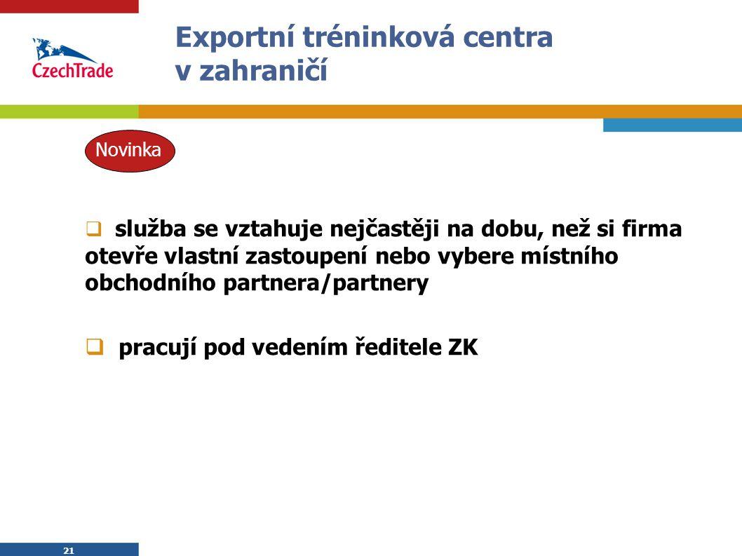 21 Exportní tréninková centra v zahraničí  služba se vztahuje nejčastěji na dobu, než si firma otevře vlastní zastoupení nebo vybere místního obchodn