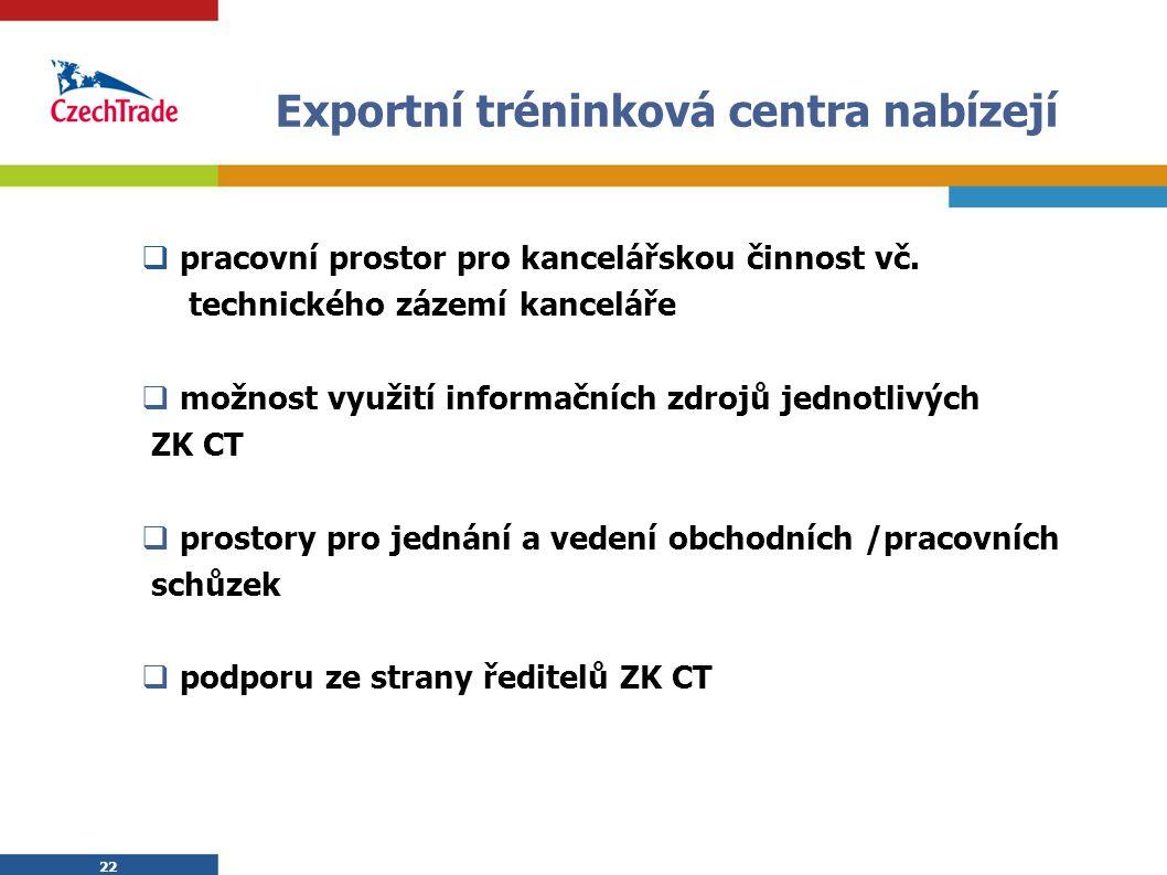 22 Exportní tréninková centra nabízejí  pracovní prostor pro kancelářskou činnost vč. technického zázemí kanceláře  možnost využití informačních zdr