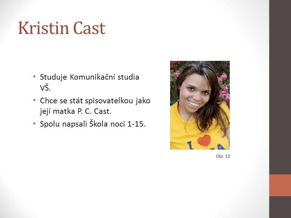 Kristin Cast Studuje Komunikační studia VŠ. Chce se stát spisovatelkou jako její matka P. C. Cast. Spolu napsali Škola noci 1-15. Obr. 13