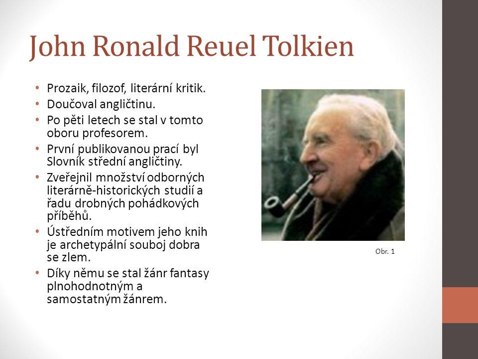 John Ronald Reuel Tolkien Prozaik, filozof, literární kritik. Doučoval angličtinu. Po pěti letech se stal v tomto oboru profesorem. První publikovanou