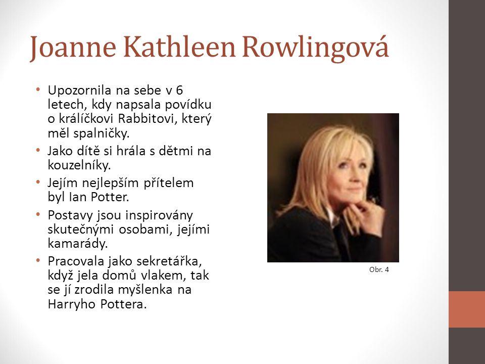 Joanne Kathleen Rowlingová Upozornila na sebe v 6 letech, kdy napsala povídku o králíčkovi Rabbitovi, který měl spalničky. Jako dítě si hrála s dětmi