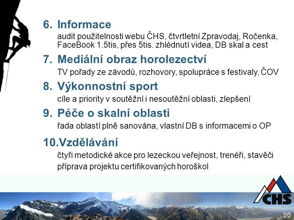 20 6.Informace audit použitelnosti webu ČHS, čtvrtletní Zpravodaj, Ročenka, FaceBook 1.5tis, přes 5tis. zhlédnutí videa, DB skal a cest 7.Mediální obr
