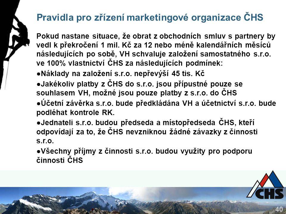 40 Pravidla pro zřízení marketingové organizace ČHS Pokud nastane situace, že obrat z obchodních smluv s partnery by vedl k překročení 1 mil. Kč za 12