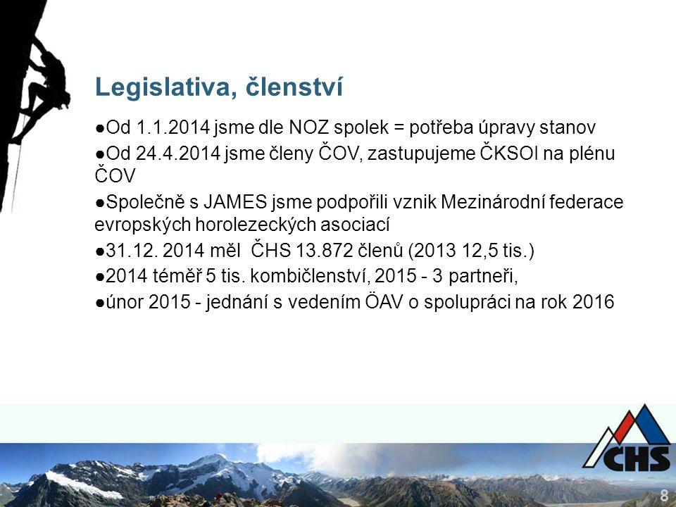 8 Legislativa, členství ●Od 1.1.2014 jsme dle NOZ spolek = potřeba úpravy stanov ●Od 24.4.2014 jsme členy ČOV, zastupujeme ČKSOI na plénu ČOV ●Společn