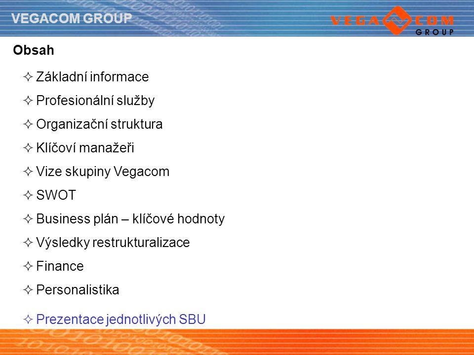 VEGACOM GROUP Obsah  Základní informace  Profesionální služby  Organizační struktura  Klíčoví manažeři  Vize skupiny Vegacom  SWOT  Business pl