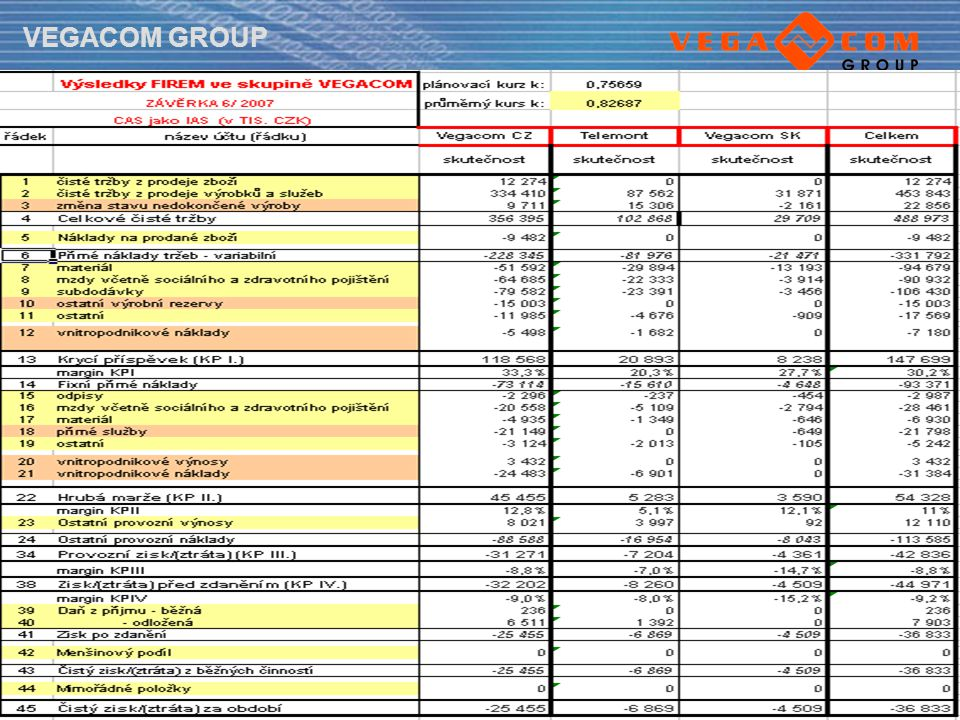 VEGACOM GROUP Finance