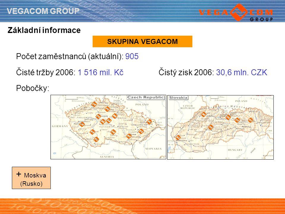 VEGACOM GROUP Základní informace Počet zaměstnanců (aktuální): 905 Čisté tržby 2006: 1 516 mil. KčČistý zisk 2006: 30,6 mln. CZK Pobočky: + Moskva (Ru