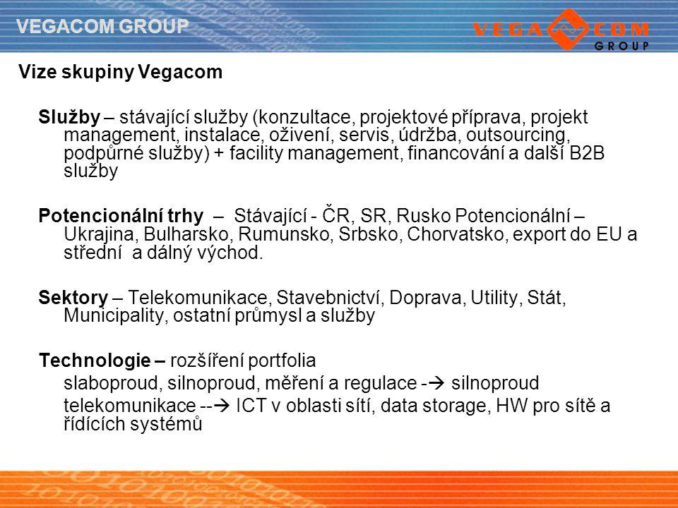 VEGACOM GROUP Vize skupiny Vegacom Služby – stávající služby (konzultace, projektové příprava, projekt management, instalace, oživení, servis, údržba,