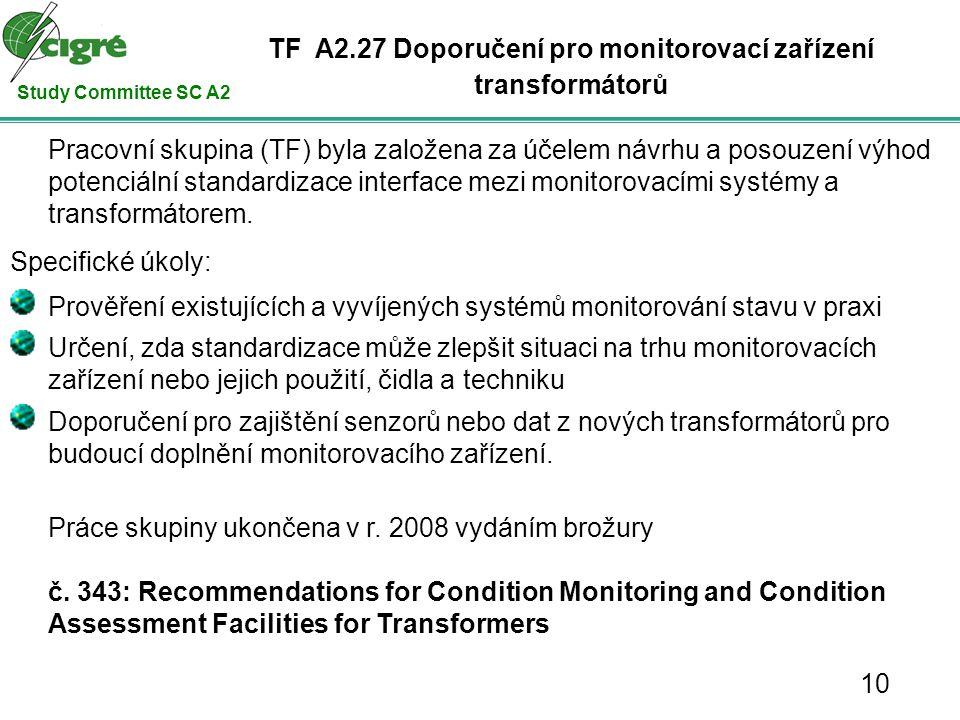 Study Committee SC A2 Pracovní skupina (TF) byla založena za účelem návrhu a posouzení výhod potenciální standardizace interface mezi monitorovacími systémy a transformátorem.