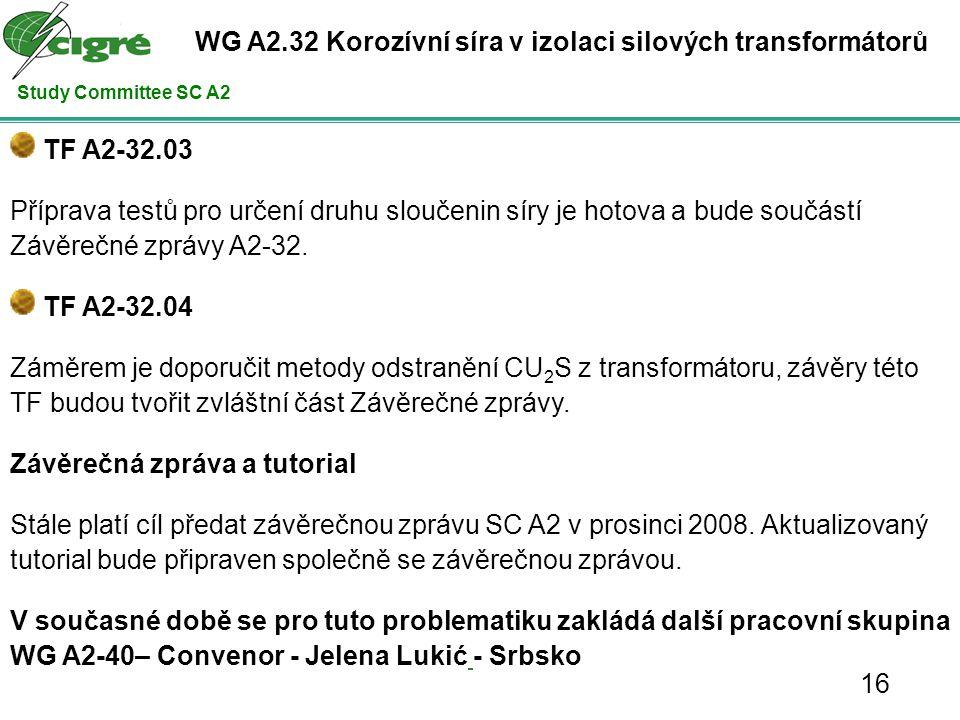 Study Committee SC A2 TF A2-32.03 Příprava testů pro určení druhu sloučenin síry je hotova a bude součástí Závěrečné zprávy A2-32.