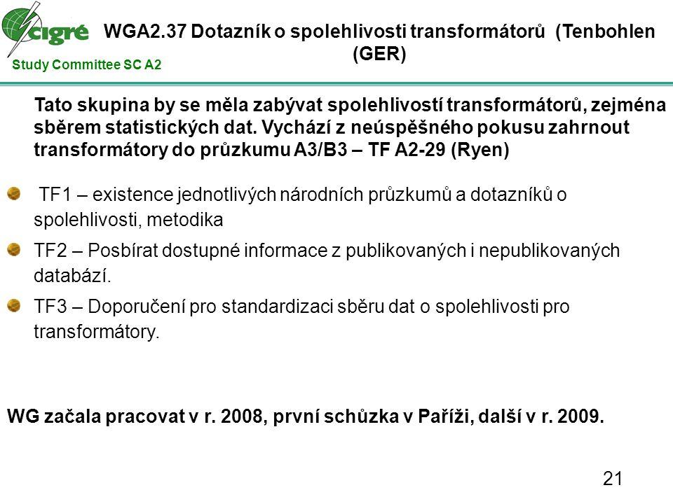 Study Committee SC A2 Tato skupina by se měla zabývat spolehlivostí transformátorů, zejména sběrem statistických dat.