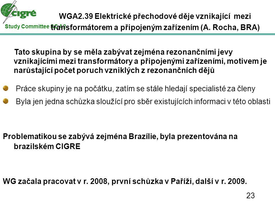 Study Committee SC A2 Tato skupina by se měla zabývat zejména rezonančními jevy vznikajícími mezi transformátory a připojenými zařízeními, motivem je narůstající počet poruch vzniklých z rezonančních dějů Práce skupiny je na počátku, zatím se stále hledají specialisté za členy Byla jen jedna schůzka sloužící pro sběr existujících informaci v této oblasti Problematikou se zabývá zejména Brazílie, byla prezentována na brazilském CIGRE WG začala pracovat v r.