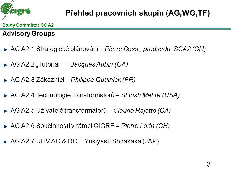 Přehled pracovních skupin (AG,WG,TF) Working Groups WG A2.24 - Tepelné poměry v transformátorech (Declercq, B) WG A2.25 - Spolehlivost průchodek (Polovick, CA) WG A2.26 - Zjišťovaní mechanického stavu (FRA manuál, standardizace (Picher, CA) – dokončeno –Brožura č.