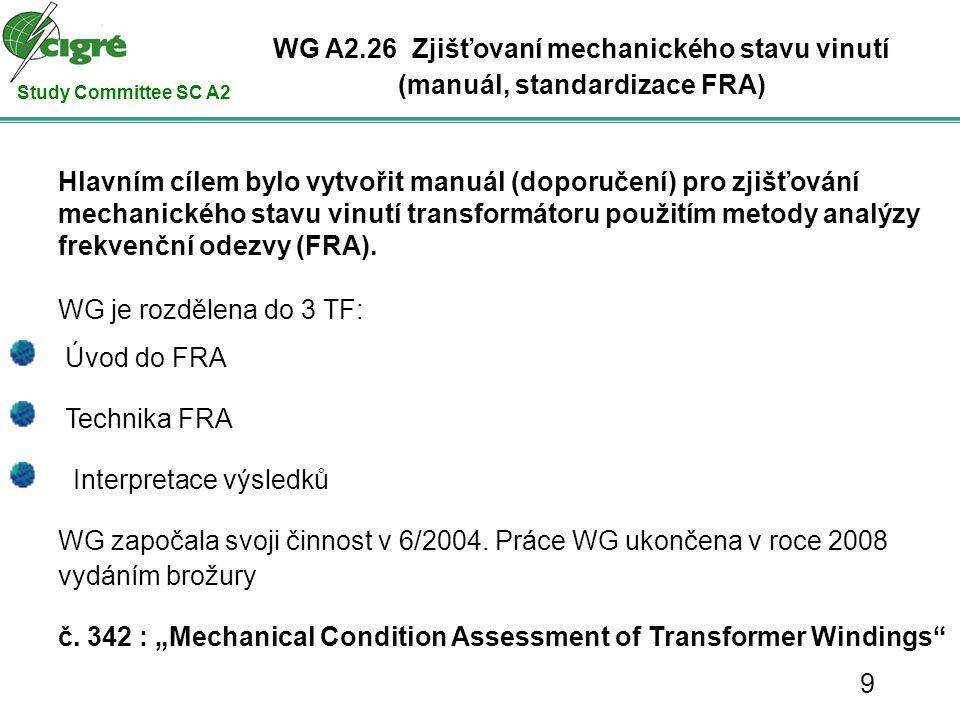 Study Committee SC A2 Hlavním cílem bylo vytvořit manuál (doporučení) pro zjišťování mechanického stavu vinutí transformátoru použitím metody analýzy frekvenční odezvy (FRA).