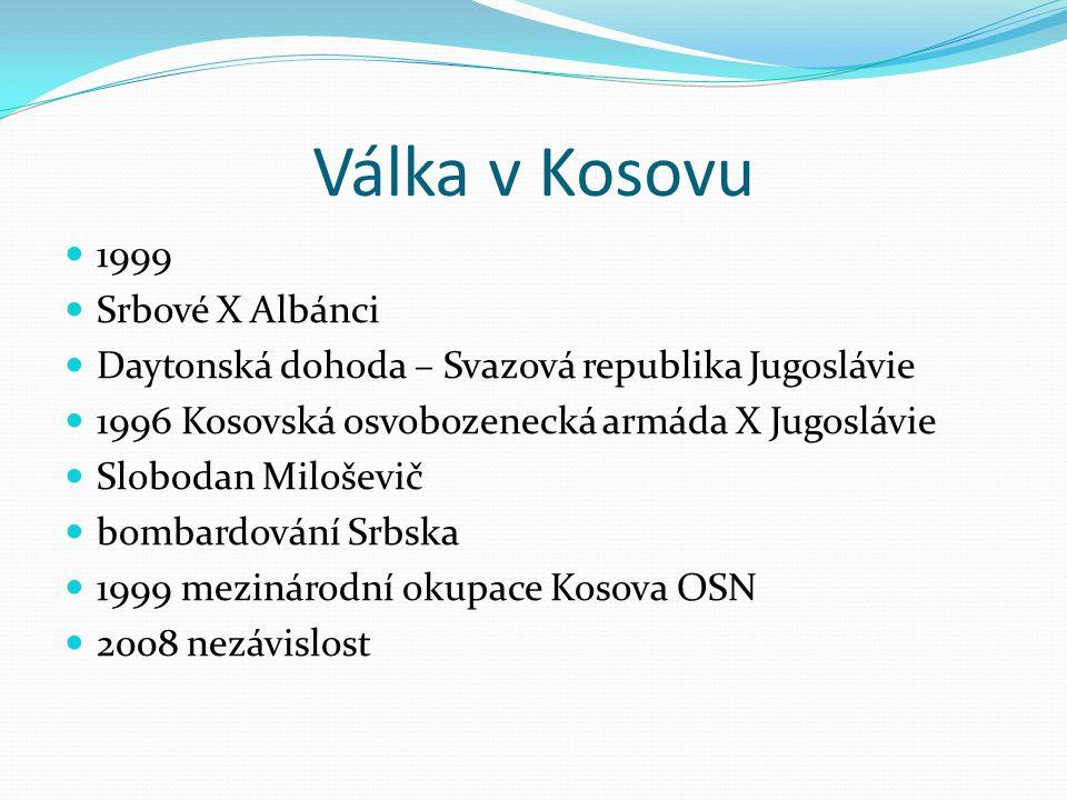Válka v Kosovu 1999 Srbové X Albánci Daytonská dohoda – Svazová republika Jugoslávie 1996 Kosovská osvobozenecká armáda X Jugoslávie Slobodan Miloševi