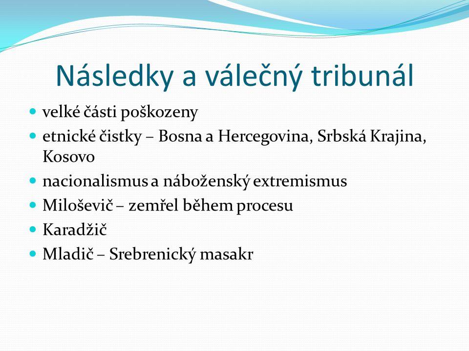 Následky a válečný tribunál velké části poškozeny etnické čistky – Bosna a Hercegovina, Srbská Krajina, Kosovo nacionalismus a náboženský extremismus
