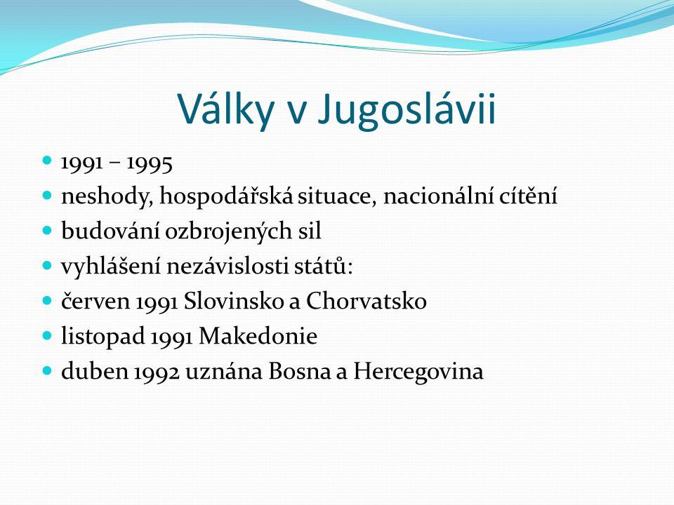 Války v Jugoslávii 1991 – 1995 neshody, hospodářská situace, nacionální cítění budování ozbrojených sil vyhlášení nezávislosti států: červen 1991 Slov