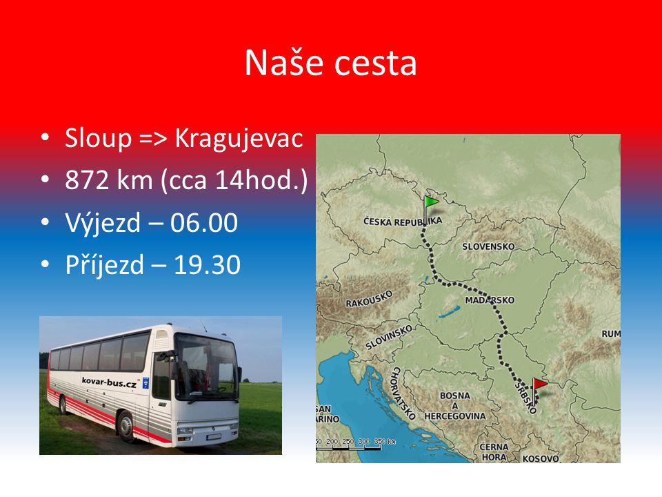 Naše cesta Sloup => Kragujevac 872 km (cca 14hod.) Výjezd – 06.00 Příjezd – 19.30