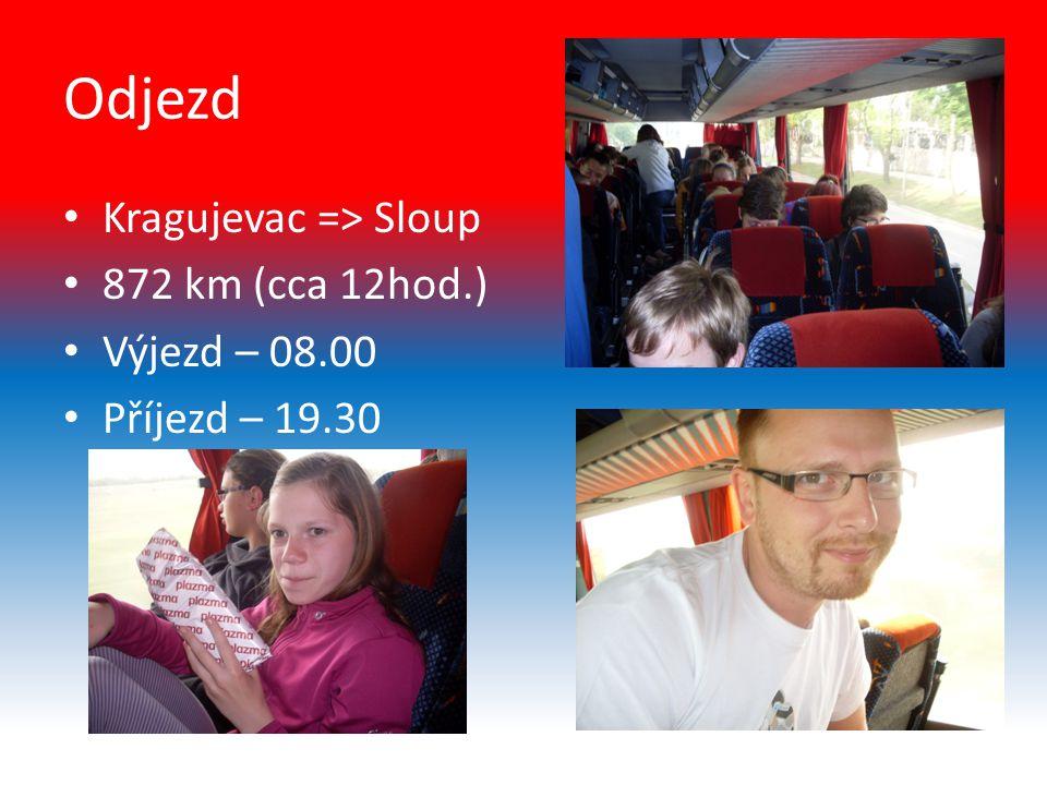 Odjezd Kragujevac => Sloup 872 km (cca 12hod.) Výjezd – 08.00 Příjezd – 19.30
