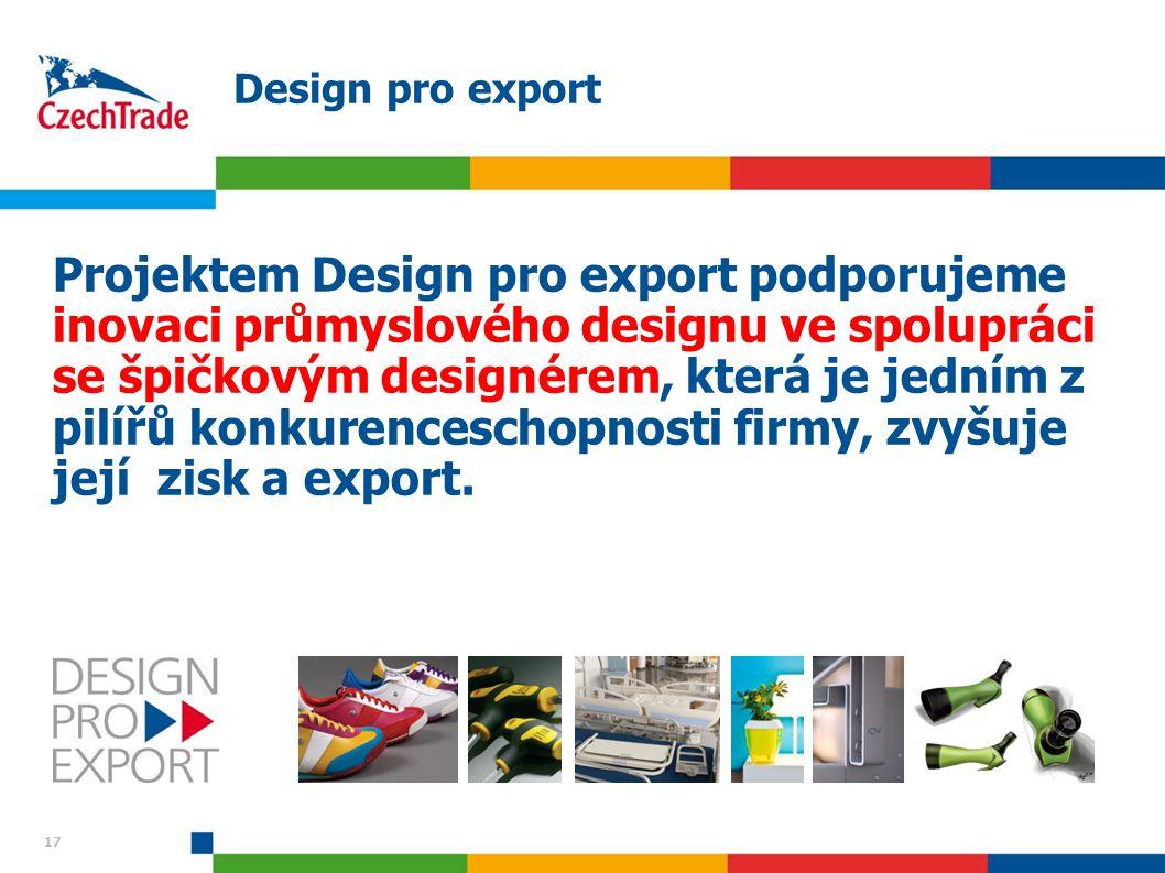 17 Design pro export Projektem Design pro export podporujeme inovaci průmyslového designu ve spolupráci se špičkovým designérem, která je jedním z pil