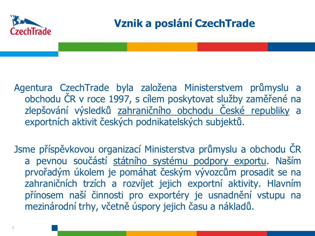 2 Vznik a poslání CzechTrade Agentura CzechTrade byla založena Ministerstvem průmyslu a obchodu ČR v roce 1997, s cílem poskytovat služby zaměřené na