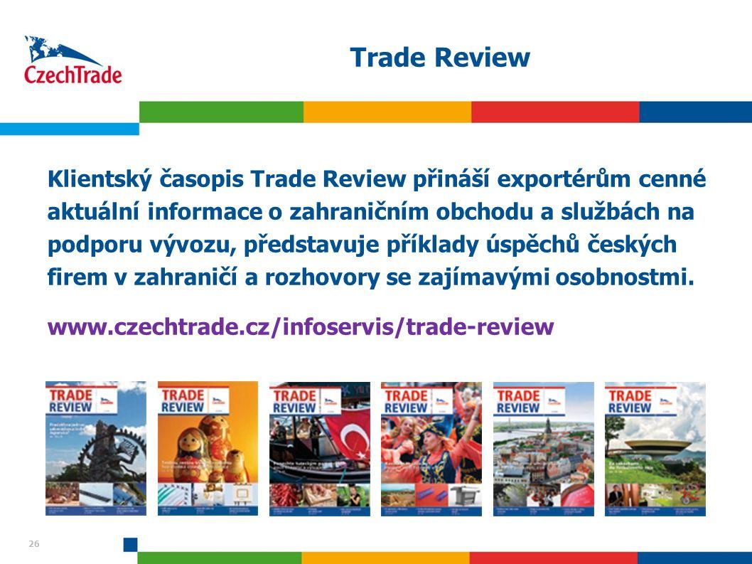 26 Trade Review Klientský časopis Trade Review přináší exportérům cenné aktuální informace o zahraničním obchodu a službách na podporu vývozu, předsta