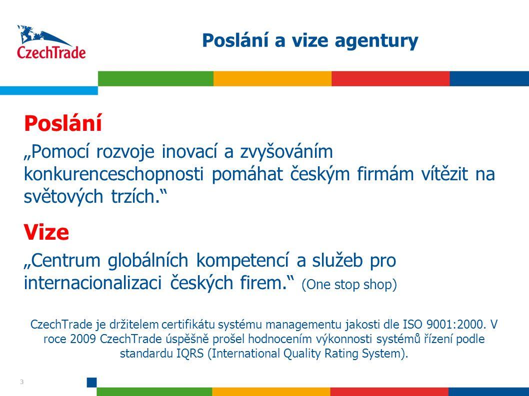 """3 3 Poslání a vize agentury Poslání """"Pomocí rozvoje inovací a zvyšováním konkurenceschopnosti pomáhat českým firmám vítězit na světových trzích."""" Vize"""