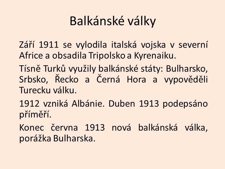 Balkánské války Září 1911 se vylodila italská vojska v severní Africe a obsadila Tripolsko a Kyrenaiku. Tísně Turků využily balkánské státy: Bulharsko