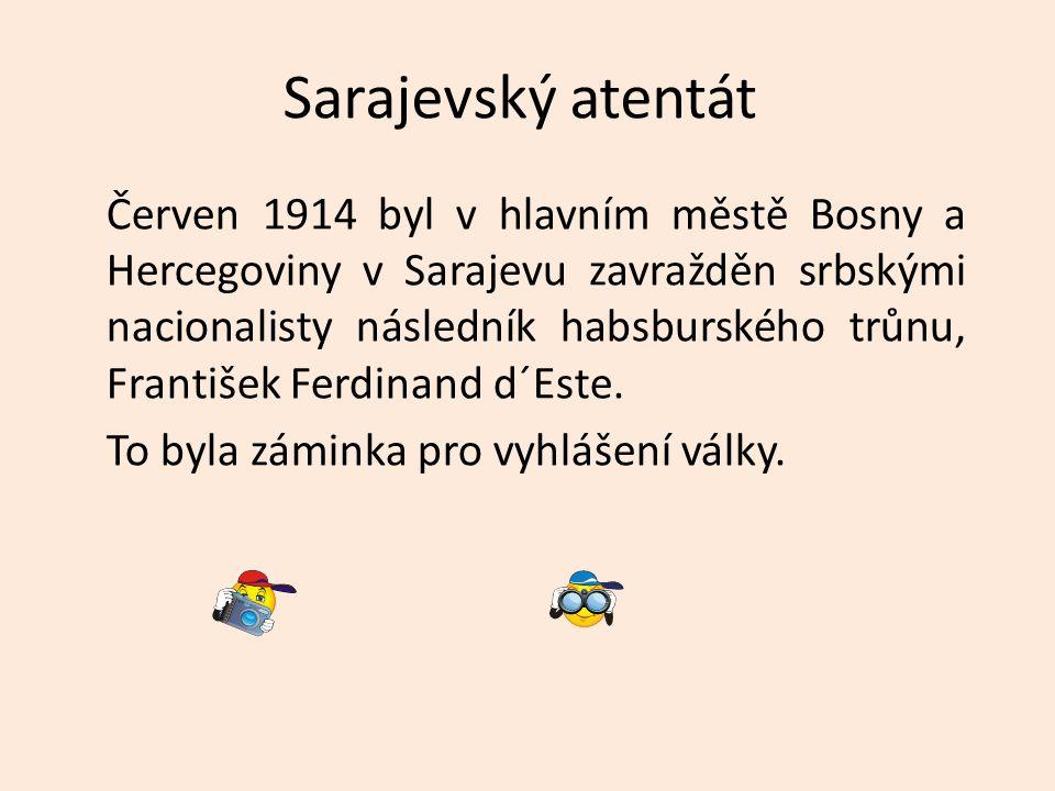 Sarajevský atentát Červen 1914 byl v hlavním městě Bosny a Hercegoviny v Sarajevu zavražděn srbskými nacionalisty následník habsburského trůnu, Franti