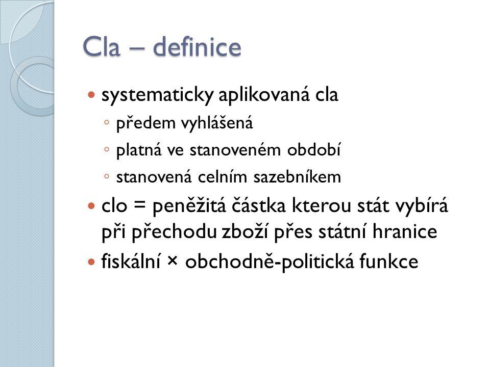 Cla – definice systematicky aplikovaná cla ◦ předem vyhlášená ◦ platná ve stanoveném období ◦ stanovená celním sazebníkem clo = peněžitá částka kterou