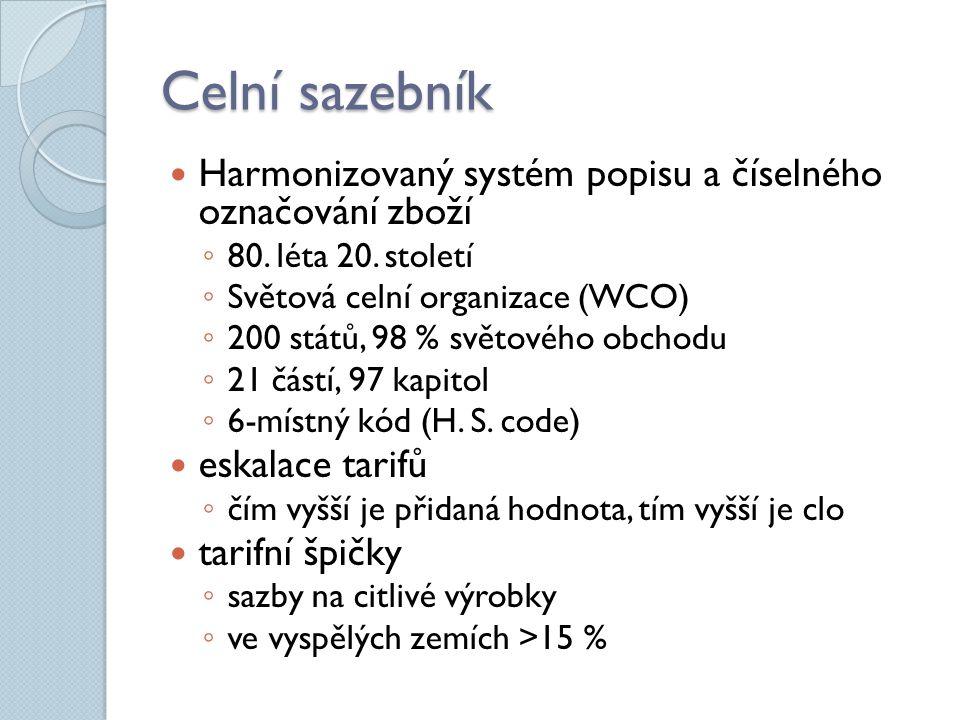 Celní sazebník Harmonizovaný systém popisu a číselného označování zboží ◦ 80. léta 20. století ◦ Světová celní organizace (WCO) ◦ 200 států, 98 % svět