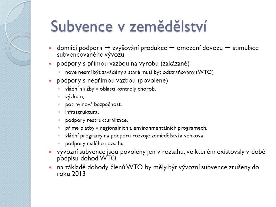 Subvence v zemědělství Subvence v zemědělství domácí podpora  zvyšování produkce  omezení dovozu  stimulace subvencovaného vývozu podpory s přímou