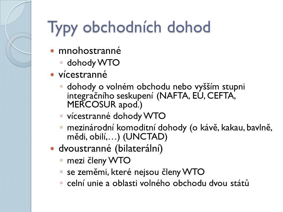 Typy obchodních dohod mnohostranné ◦ dohody WTO vícestranné ◦ dohody o volném obchodu nebo vyšším stupni integračního seskupení (NAFTA, EU, CEFTA, MER