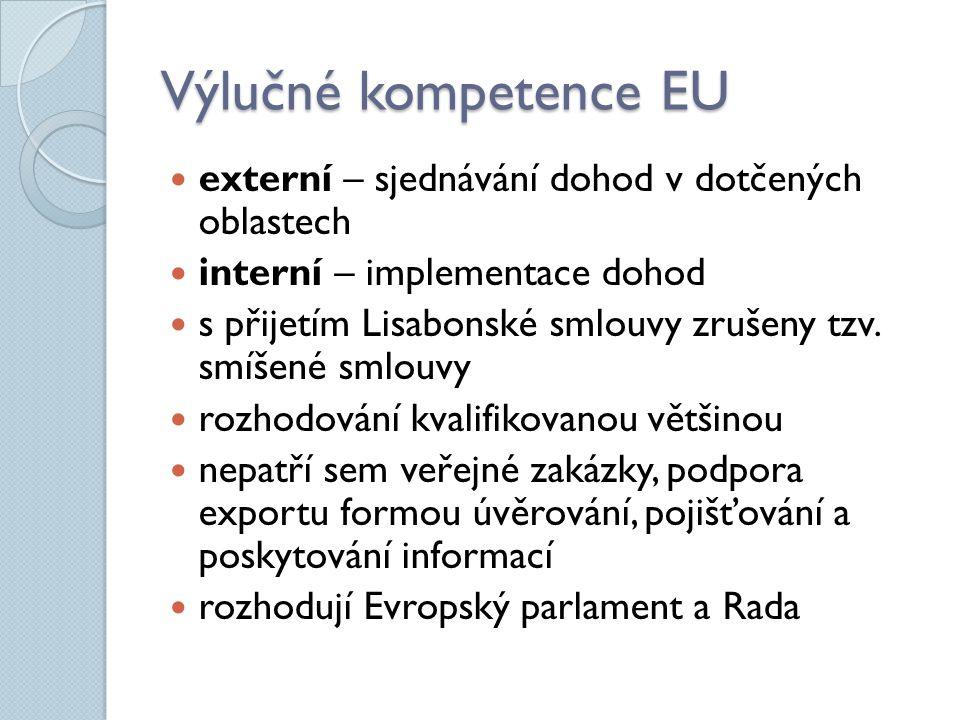 Výlučné kompetence EU externí – sjednávání dohod v dotčených oblastech interní – implementace dohod s přijetím Lisabonské smlouvy zrušeny tzv. smíšené
