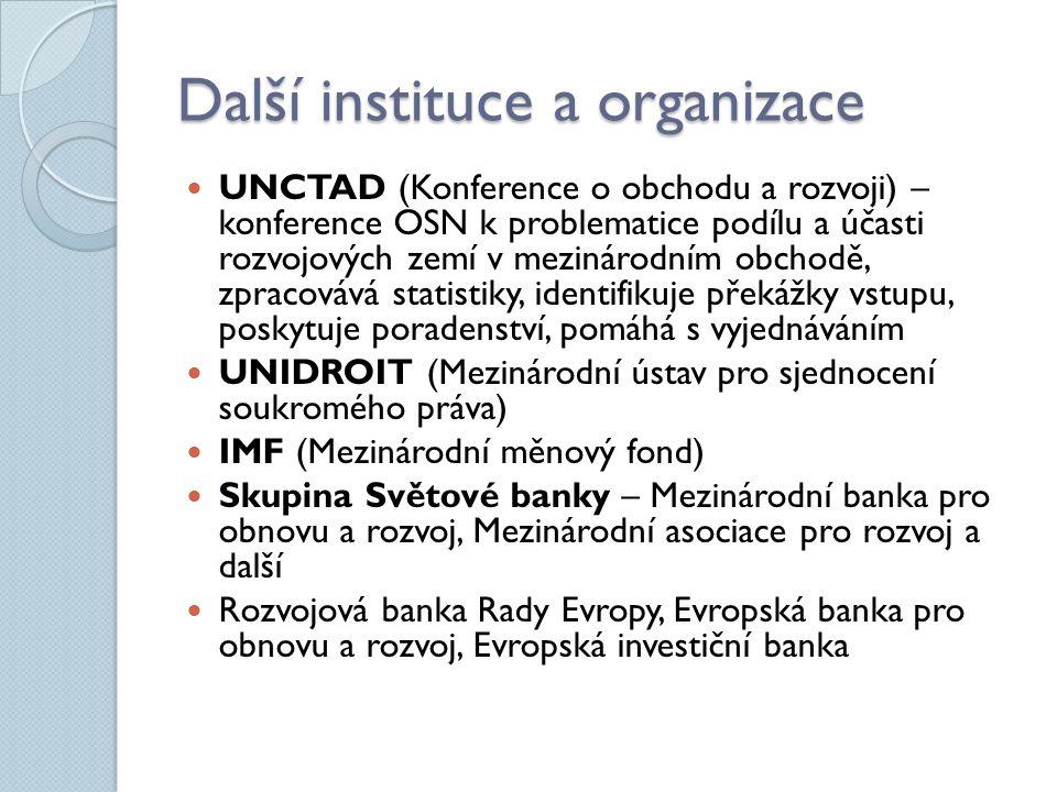 Další instituce a organizace UNCTAD (Konference o obchodu a rozvoji) – konference OSN k problematice podílu a účasti rozvojových zemí v mezinárodním o