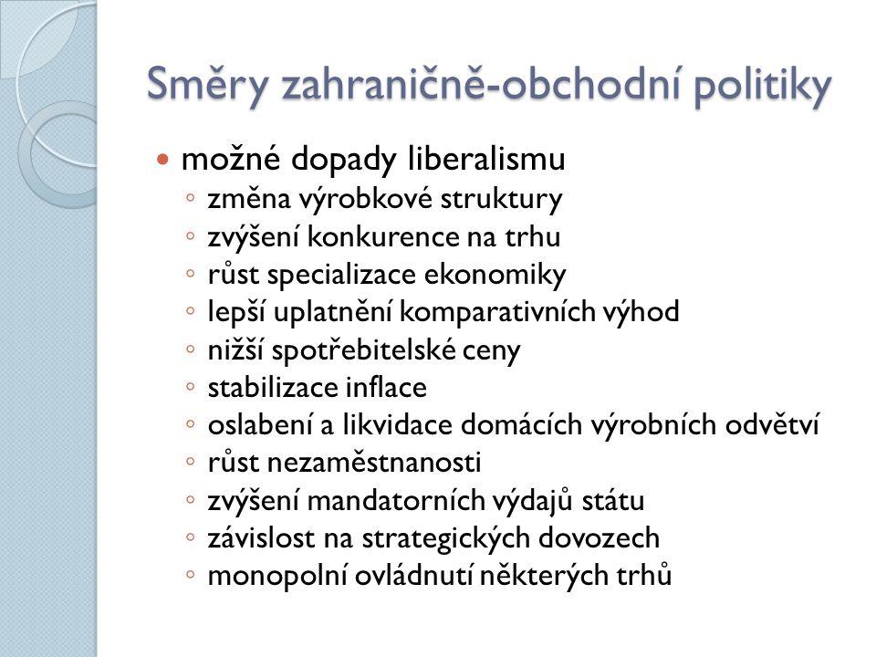 Česká republika Visegrádská skupina ◦ ČR, Polsko, Slovensko, Maďarsko ◦ rozvoj užší spolupráce a vzájemných vazeb CEFTA (Středoevropská zóna volného obchodu) ◦ členství zaniklo vstupem do EU ◦ Chorvatsko, Makedonie, Albánie, Bosna a Hercegovina, Černá Hora, Kosovo, Moldávie, Srbsko členství v dalších organizacích ◦ WTO, OSN, EU, IMF,… ◦ > 400 ◦ 38 miliard Kč na příspěvcích http://www.mzv.cz/jnp/cz/zajimave_odkazy/mezinarodni_organizace.html