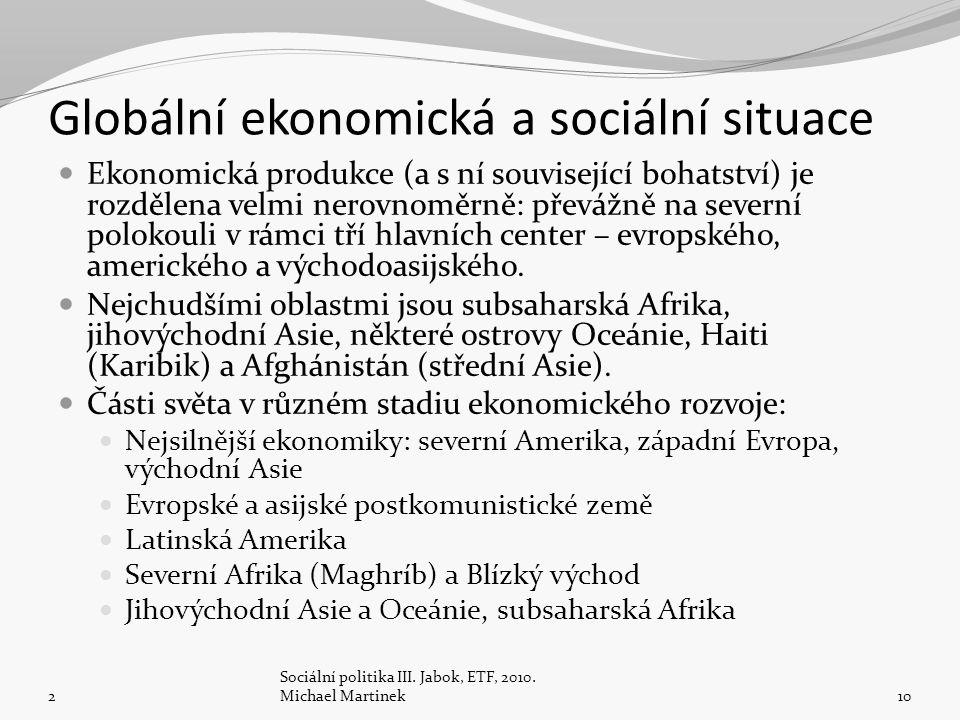 Globální ekonomická a sociální situace Ekonomická produkce (a s ní související bohatství) je rozdělena velmi nerovnoměrně: převážně na severní polokou