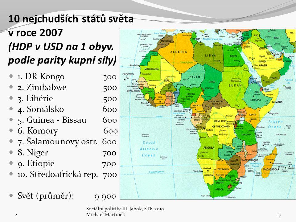 10 nejchudších států světa v roce 2007 (HDP v USD na 1 obyv.