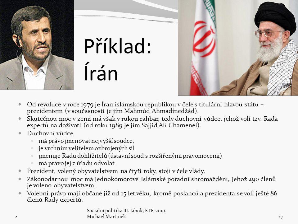 Příklad: Írán Od revoluce v roce 1979 je Írán islámskou republikou v čele s titulární hlavou státu – prezidentem (v současnosti je jím Mahmúd Ahmadínedžád).