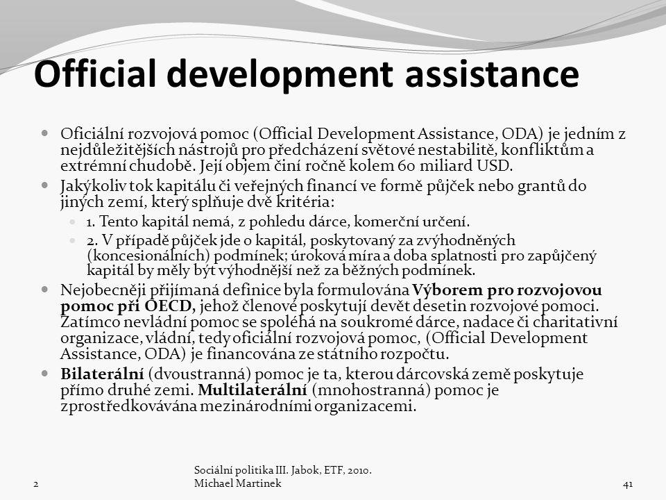 Official development assistance Oficiální rozvojová pomoc (Official Development Assistance, ODA) je jedním z nejdůležitějších nástrojů pro předcházení