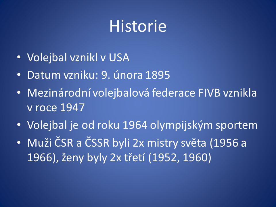 Historie Volejbal vznikl v USA Datum vzniku: 9. února 1895 Mezinárodní volejbalová federace FIVB vznikla v roce 1947 Volejbal je od roku 1964 olympijs