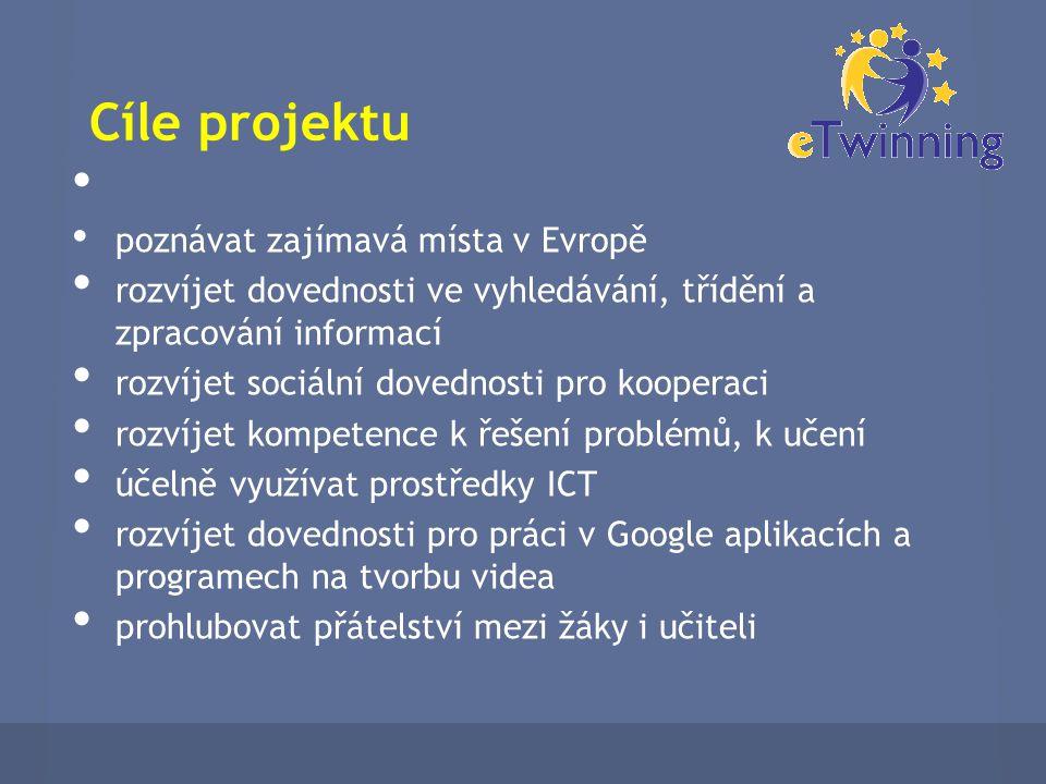 Cíle projektu poznávat zajímavá místa v Evropě rozvíjet dovednosti ve vyhledávání, třídění a zpracování informací rozvíjet sociální dovednosti pro kooperaci rozvíjet kompetence k řešení problémů, k učení účelně využívat prostředky ICT rozvíjet dovednosti pro práci v Google aplikacích a programech na tvorbu videa prohlubovat přátelství mezi žáky i učiteli