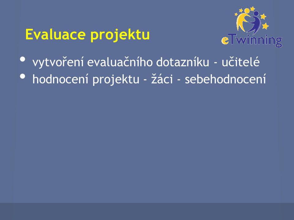 Evaluace projektu vytvoření evaluačního dotazníku - učitelé hodnocení projektu - žáci - sebehodnocení